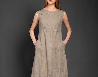 LINEN DRESS  Light grey  100% linen sleeveless dress. special wash during manufacturing process made the dress much softer. LinenBuy