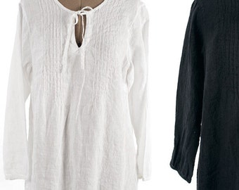 LINEN TUNIC PLUS size clothing White and Black lightweight 100% linen tunic