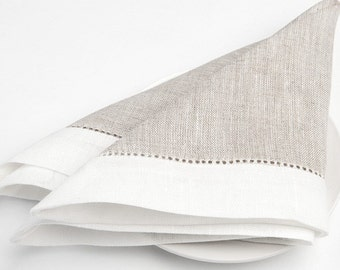 100 % LINEN NAPKINS SET Of 6 Grey with off-white borders Luxury napkins Wedding napkins  Rustic linen napkinsMedium-weigh linen napkins