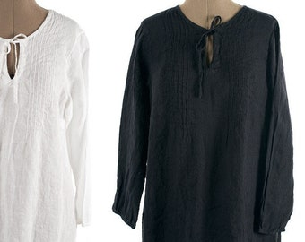 Linen Tunic Last items size 20 US/ 52 EU  Ready to Ship, Black Tunic, Linen Blouse,  lightweight 100% linen tunic