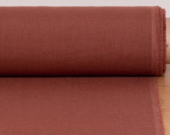 Pure 100% linen fabric 160gsm brick red, medium weight, wash and soften with organic softeners. For clothing, napkins, curtains, accessories