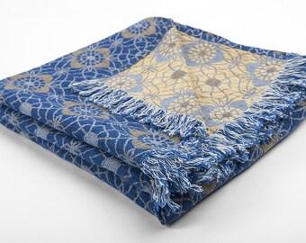 LINEN BLANKET The four colors Ornament linen / cotton blanket