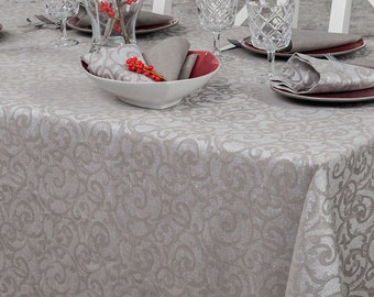 Linen/cotton grey patterned tablecloth. Christmas Tablecloth. Tablecloth for winter celebrations. Standard shipping via FedEx