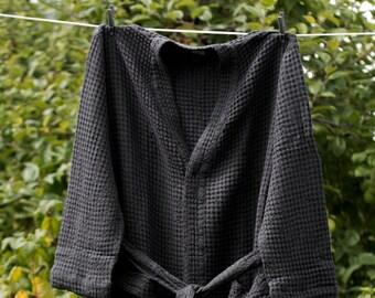 LINEN BATHROBE MEN'S Graphite black linen / cotton  bathrobe, high quality soft  robe, LinenBuy