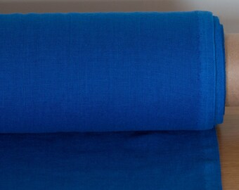 LINEN FABRIC medium weight Bright blue Cornflower blue washed pure 100% linen fabric  Fashion fabric by meter