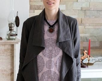 LINEN JACKET  Japanese Jacket  Linen Coat Linen Blazer Elegant garment 100% Linen