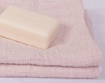 Pure 100% Linen Waffle Pique Bath Towels Old Pink Medium weight Washed Organic Eco friendly