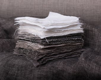 Linen fabrics SAMPLES SETs Not-dyed linen color, White, Striped, Checked, Herringbone, Chambary