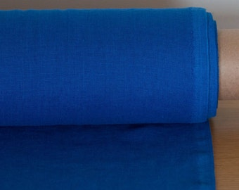 Linen fabric, 100 % Natural Linen fabric, Linen fabric by the yard, Soft Linen, Linen clothing fabric, Bright blue linen fabric
