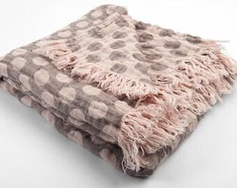 Linen blanket, gray pink blanket, bedspread, natural blanket, picnic blanket, LinenBuy