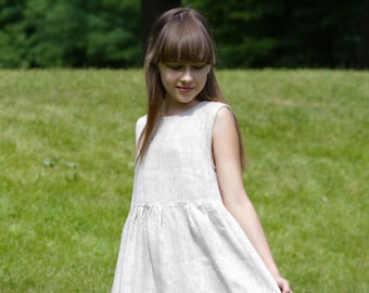 LINEN GIRLS' DRESS Flower Girl Dresses Baby Girls' Clothing  Dresses Weddings  100% linen girl's dress