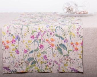 Linen Table Runner Digital Printed FLOWERS FIESTA, Custom Size Wedding Runner, Handmade Table Runner Washed Mitered Corner, Table Decoration
