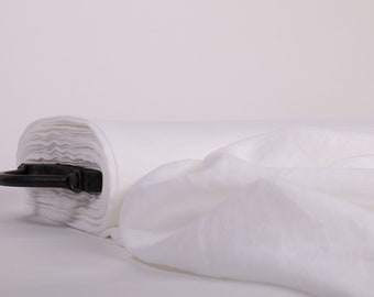 Linen fabric 200gsm stark white, wash and soften with organic softeners. Fashion Fabric usually for clothing , home textile etc
