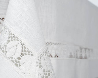 100 % LINEN TABLECLOTH with LACE Tablecloth Rectangle, Square Tablecloth,Paschal Tablecloth,  Wedding Decor, Kitchen Decor