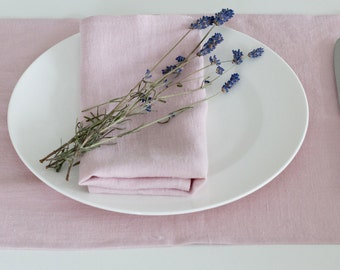 SET 4 LINEN PLACEMATS | Dirty pink (Ash Rose) | Light blue (Pale blue)  Washed 100% linen placemats