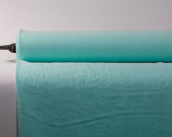 Pure 100% Linen Fabric Mint Green Medium Weight Pre-Washed Durable Dense Plain Solid Organic Textile Drape For Sewing Table Cloth By Yard
