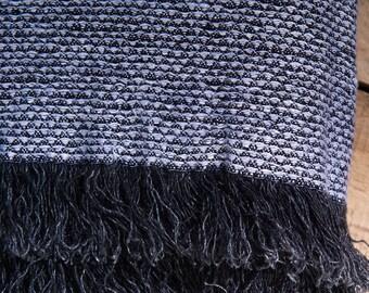 """LINEN PATTERNED BLANKET  Black-White Size 49"""" x 87""""  Bedspread, natural blanket, picnic blanket, linen rug, linen plaid"""