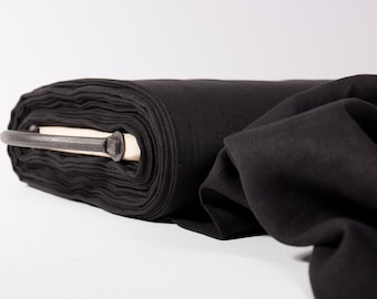 Linen fabric black  135gsm lightweight Pure 100% linen thin and light washed by metre Fashion Fabric