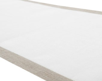 LINEN TABLE RUNNER Off-white and Light grey  table runner made from lightweight 100% linen fabric.