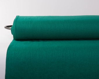 Pure 100% Linen Fabric Emerald Green Medium Weight Pre-Washed Durable Dense Plain Solid Organic Textile Drape For Sewing Table Cloth By Yard