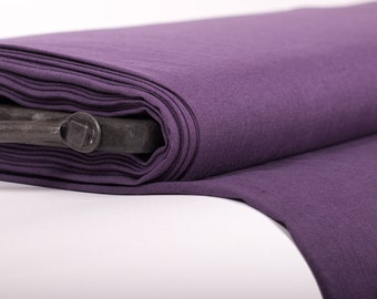 Pure 100% linen fabric 200gsm Ultra Violet, medium weight, wash and soften with organic softeners. In rolls. Cuts from 0.5 yard.