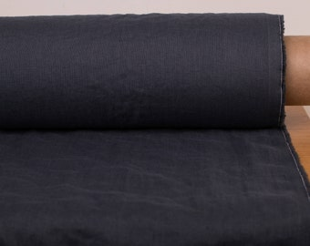 Linen fabric 135gsm  Dark gray Graphite gray lightweight washed pure 100% linen fabrics