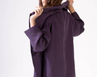 LINEN JACKET  color Dark Violet Japanese Jacket  Linen Coat Linen Blazer Elegant garment 100% Linen