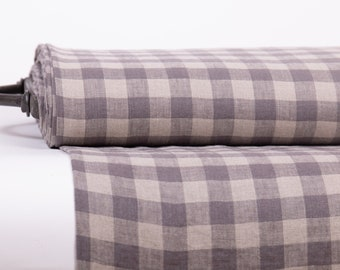 Linen fabric 200gsm medium weight, Pure 100% Dove grey and not- dyed Gingham check, washed and softened,