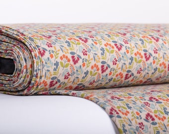Pure 100% linen fabric digital printed. FALL COLORS base not-dyed linen fabric medium weight, washed, softened Code MP 500-01