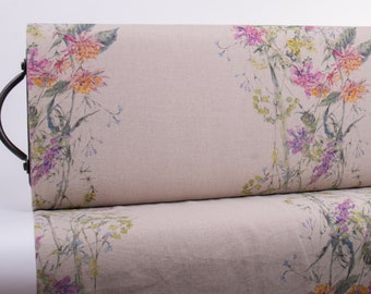 Pure 100% Linen Fabric Digital Printed Meadow Bar Natural Medium Weight Washed Softened Durable Organic For Tablecloths Curtains Accessories