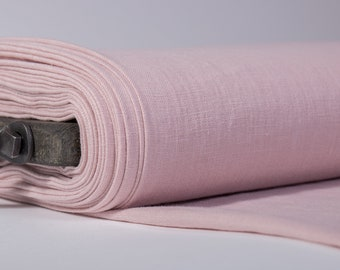 Pure 100% Linen Fabric Dirty Pink Medium Weight Pre-Washed Durable Dense Plain Solid Organic Textile Drape For Sewing Table Cloth By Yard