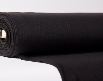 Black Linen fabric 200gsm Pure 100% linen fabric washed and softened. Soft linen fabric for clothing. Solid natural linen fabric