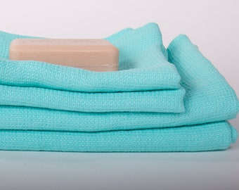 Pure 100% Linen Waffle Pique Bath Towels Mint Green Medium weight Washed Organic Eco friendly