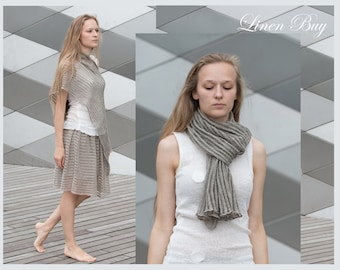 LINEN SHAWL- WRAPS (Ponchos)  Knitted   Handmade Natural Linen