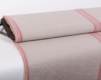 Pure 100% linen fabric  380gsm. Heavy weight natural linen with red strips. Washed linen fabric. Organic Softened linen fabric.