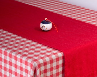 Table runner linen, Red linen table runner, New Year decor, 100% linen handmade linen table runner