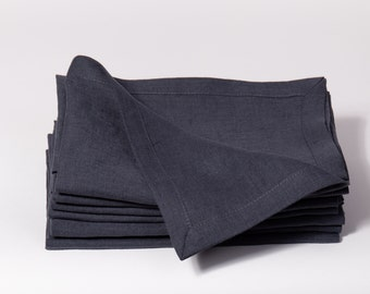 Linen napkins  SET 4, 6, 8, 12 Dark gray and more others colors,  Stone washed 100% linen napkins, Handmade pure line napkins