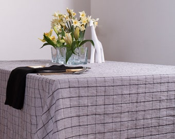Linen tablecloth, Checked Rectangle, Square Tablecloth, Tablecloth Wedding, Rustic Tablecloth, Organic Tablecloth
