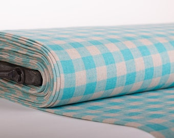 Pure 100% Linen Fabric Gingham check Bright Turquoise/Not- dyed Medium Weight Plain-weaving Dense Washed  Softened Organic Certified By Yard