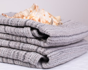 Pure 100% Linen Waffle Pique Bath Towels Gray striped Medium weight Washed Organic Eco friendly