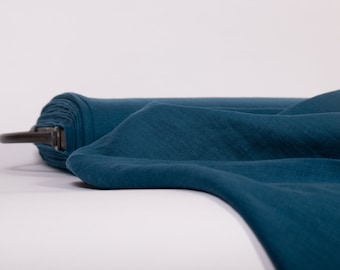 Pure 100% linen fabric Marine Blue with teal blue shade,  Medium weight, softened linen fabric, fabric by the yard, fabric by the meters