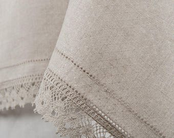 LINEN TABLECLOTH with LACE Rustic  Tablecloth Wedding Wedding Decor Table Cloth Kitchen Decor Easter Decor, Easter Tablecloth, Pashcal Decor