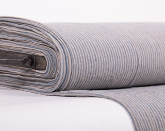 Pure 100% Linen Striped Fabric. Not-dyed Blue Striped Fabric. Medium weight Washed Dense Durable Non-transparent Organic Biologically Decay