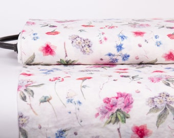Digital printed 100% linen fabric. Unique azaleas, edelweiss, marigolds print. Floral pure linen fabric medium weight, washed, softened