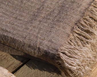 "LINEN BLANKET BROWN Size 63"" x 87""  Bedspread, natural blanket, picnic blanket, linen rug, linen plaid"