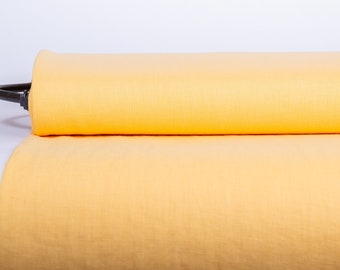 Pure 100% Linen Fabric Yellow Medium Weight Pre-Washed Durable Dense Plain Solid Organic Textile Drape For Sewing Table Cloth By Yard