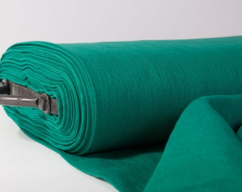 Linen fabric.  Pure 100%  linen fabric Emerald Green, washed, softened linen fabric for clothes, tablecloths, napkins, curtains,