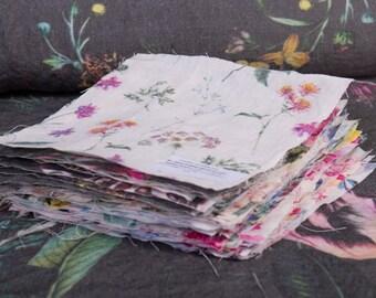 "Swatches Samples Digital printed linen fabrics sizes 24 cm x 24 cm / 9"" x 9"""