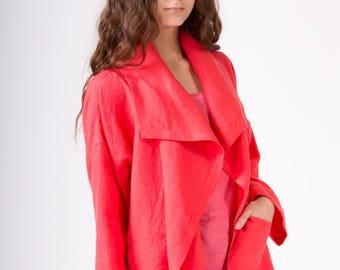 LINEN JACKET  color Bright coral Japanese Jacket  Linen Coat Linen Blazer Elegant garment 100% Linen