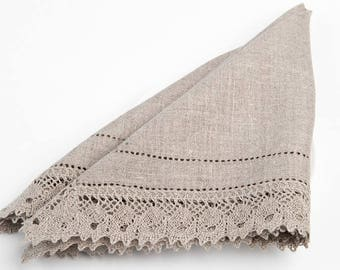 100 % LINEN NAPKINS Gray with two rows hemstitched edges and linen lace Rustic linen napkins  Luxury napkins Wedding napkins